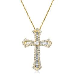 HPRDR212 Baguette & Round cut Shaped Diamond Cross Pendant - yellow