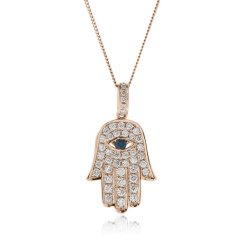 HPRGBS220 Star of David and Evil Eye Blue Sapphire Pendant - rose
