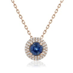 HPRGBS247 Round cut Blue Sapphire Double Halo Pendant Necklace - rose