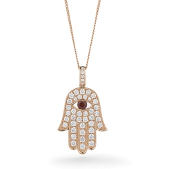 HPRGRY221 Star of David and Evil Eye Ruby Pendant - rose