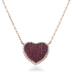 HPRGRY237 Heart Design Ruby Halo Pendant - rose