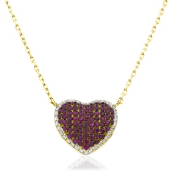 HPRGRY237 Heart Design Ruby Halo Pendant - yellow