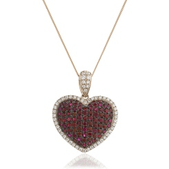 HPRGRY241 Fancy Heart Design Ruby Pendant - rose