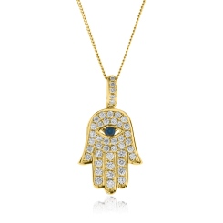 HPRGBS220 Star of David and Evil Eye Blue Sapphire Pendant - yellow