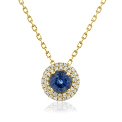 HPRGBS247 Round cut Blue Sapphire Double Halo Pendant Necklace - yellow