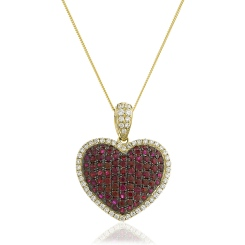 HPRGRY241 Fancy Heart Design Ruby Pendant - yellow