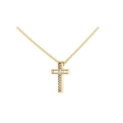 HPX23 Round Baguette Cross Diamond Pendant - yellow