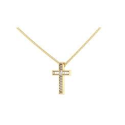 HPX23 Round Baguette Cross Diamond Pendant - yellow