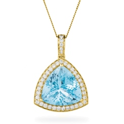 HPXGAQ232 Aquamarine Gemstone Single Halo Pendant - yellow