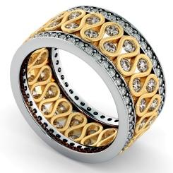 GIENAH Round cut Full Circle Designer Ring - yellow