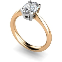 HR0286 Oval Solitaire Diamond Ring - rose