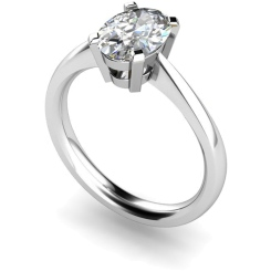 HR0286 Oval Solitaire Diamond Ring - white