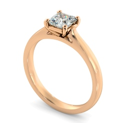HRA1144 Asscher Solitaire Diamond Ring - rose