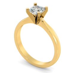 HRA1146 4 Claw Asccher Solitaire Diamond Ring - yellow