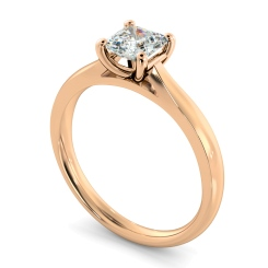 HRA1148 Classic Four Claw Asscher Solitaire Diamond Ring - rose
