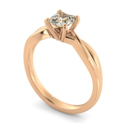 HRA1150 Asccher Cut Infinity Diamond Engagement Ring - rose