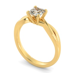 HRA1150 Asccher Cut Infinity Diamond Engagement Ring - yellow