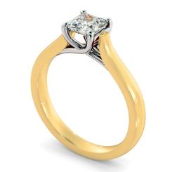 HRA1152 4 Prong Asscher cut Solitaire Diamond Ring - yellow