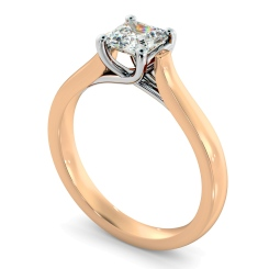 HRA1152 4 Prong Asscher cut Solitaire Diamond Ring - rose