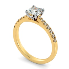 HRASD1160 Asscher Shoulder Diamond Ring - yellow