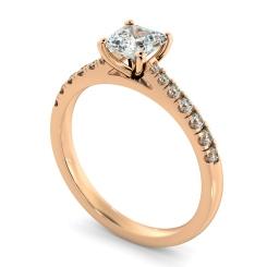 HRASD1160 Asscher Shoulder Diamond Ring - rose