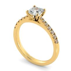 HRASD1160 Asscher Shoulder Diamond Ring - yellow