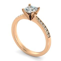 HRASD1162 Asscher Shoulder Diamond Ring - rose