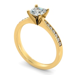 HRASD1162 Asscher Shoulder Diamond Ring - yellow