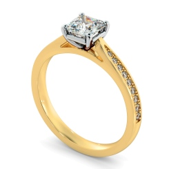 HRASD1164 Asscher Shoulder Diamond Ring - yellow