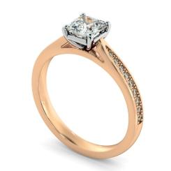HRASD1164 Asscher Shoulder Diamond Ring - rose