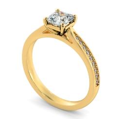 HRASD1164 Asscher Shoulder Diamond Ring - yellow