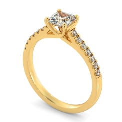HRASD1166 Asscher Shoulder Diamond Ring - yellow