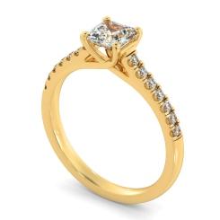 HRASD1166 Asscher Shoulder Diamond Ring - yellow