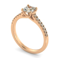 HRASD1166 Asscher Shoulder Diamond Ring - rose