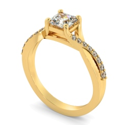 HRASD1168 Asscher Shoulder Diamond Ring - yellow