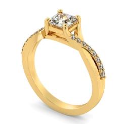 HRASD1168 Asscher Shoulder Diamond Ring - yellow