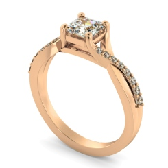 HRASD1168 Asscher Shoulder Diamond Ring - rose