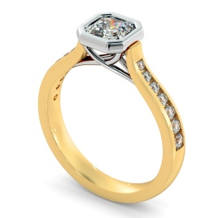 HRASD1172 Bezel Crossover Setting Asscher cut Shoulder Diamond - yellow