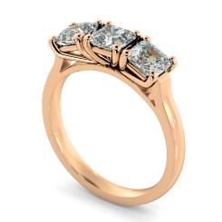 HRATR1176 3 Asscher Diamonds Trilogy Ring - rose
