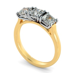 HRATR1176 3 Asscher Diamonds Trilogy Ring - yellow