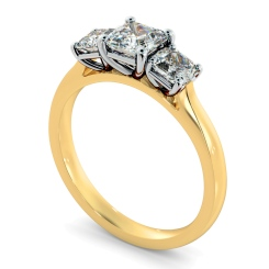 HRATR1178 Asscher 3 Stone Diamond Ring - yellow