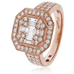HRBCL922 Round & Baguette cut Vintage with Milgrain Cluster Diamond Ring - rose
