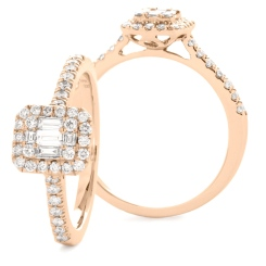HRBCL923 Round & Baguette cut Diamond Cushion Halo Cluster Ring - rose