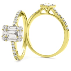 HRBCL924 Round & Baguette cut Cluster with Side Stones Diamond Ring - yellow