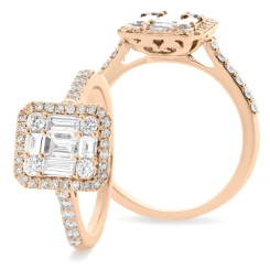 HRBCL925 Round & Baguette cut Halo Cluster Vintage Diamond Ring - rose