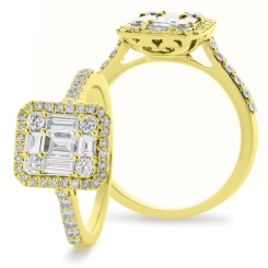 HRBCL925 Round & Baguette cut Halo Cluster Vintage Diamond Ring - yellow