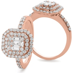 HRBCL926 Round & Baguette cut Double Halo Cluster Diamond Ring - rose