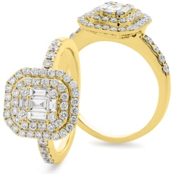 HRBCL926 Round & Baguette cut Double Halo Cluster Diamond Ring - yellow