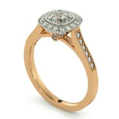 HRCSD707 Legacy style Milgrain Cushion cut Halo Diamond Ring - rose