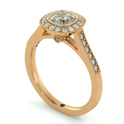HRCSD707 Legacy style Milgrain Cushion cut Halo Diamond Ring - rose